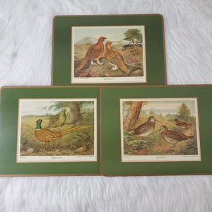Vintage Pimpernel Cork Back Bird Placemat Set of 3